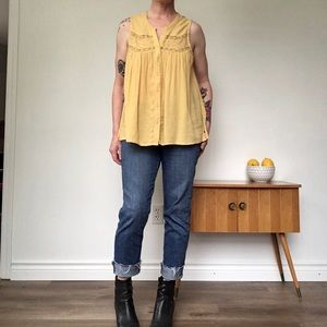 American Eagle Mustard Yellow Sleeveless Boho Top